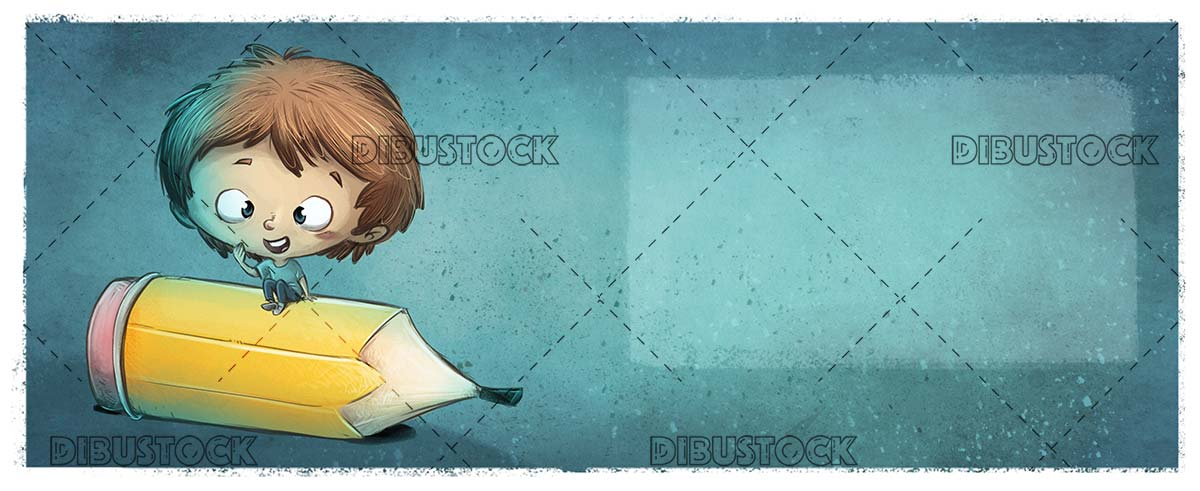 boy sitting on giant pencil with texture background