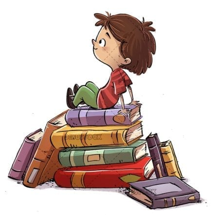 boy sitting on top of a stack of books