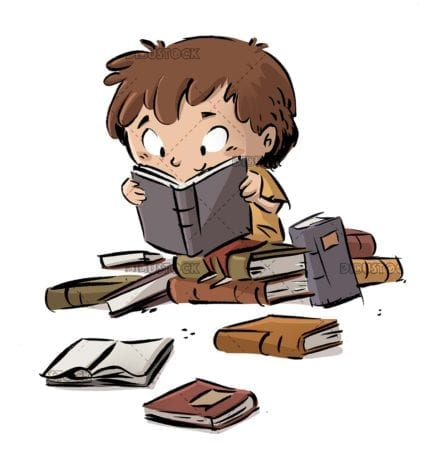 boy sitting on top of books reading very happy on isolated background