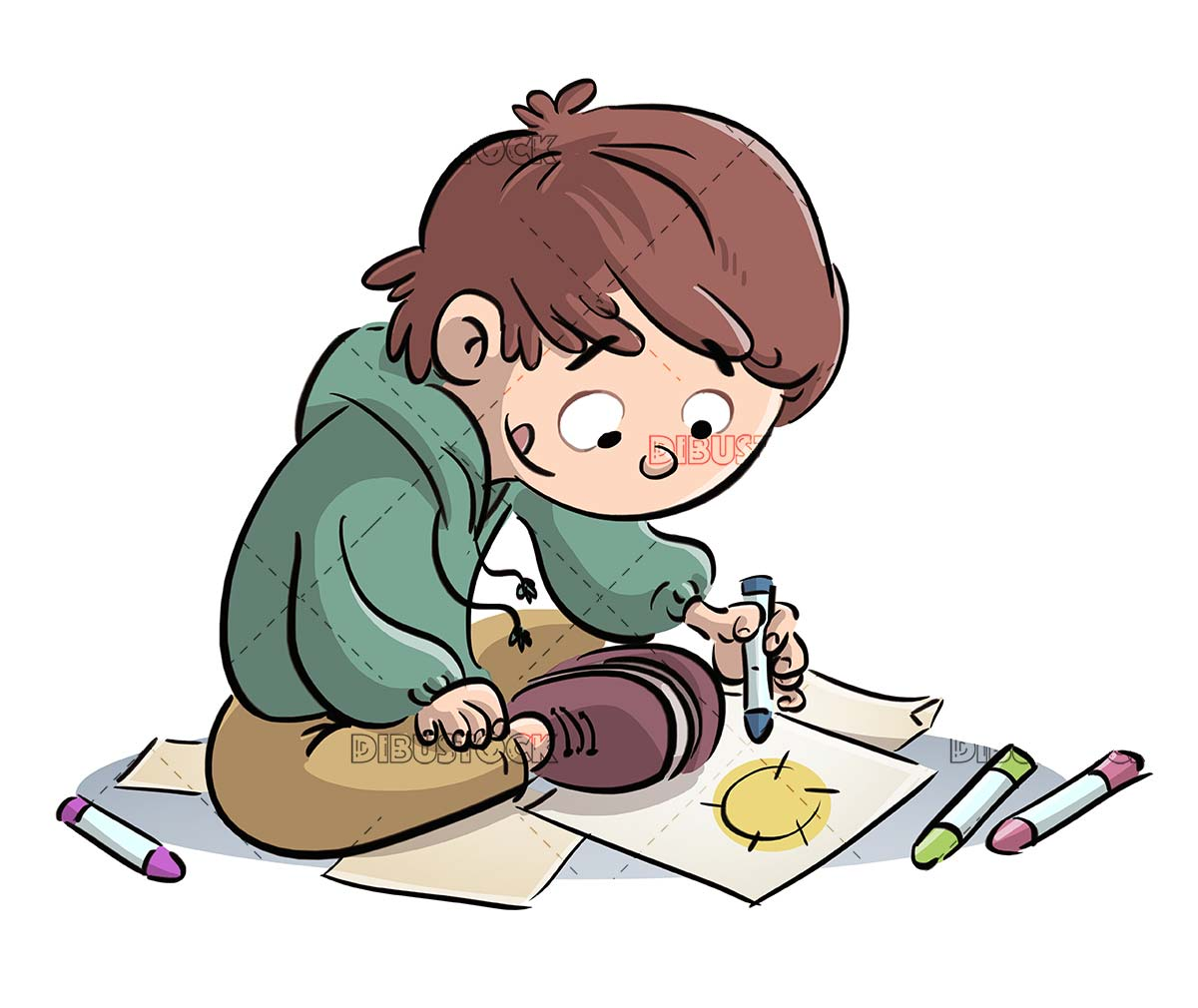 boy sitting painting with colors