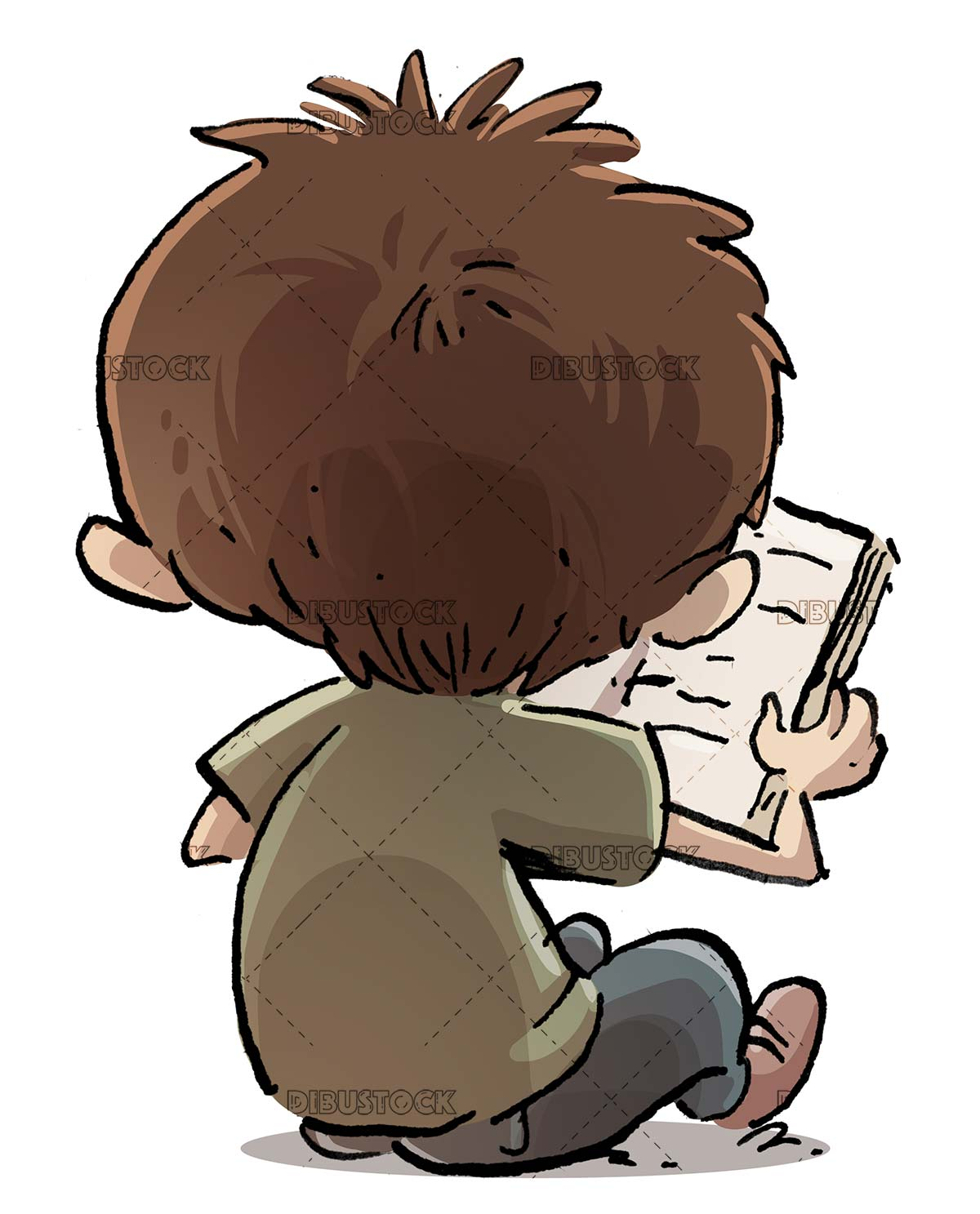 boy sitting reading a book from back on isolated background