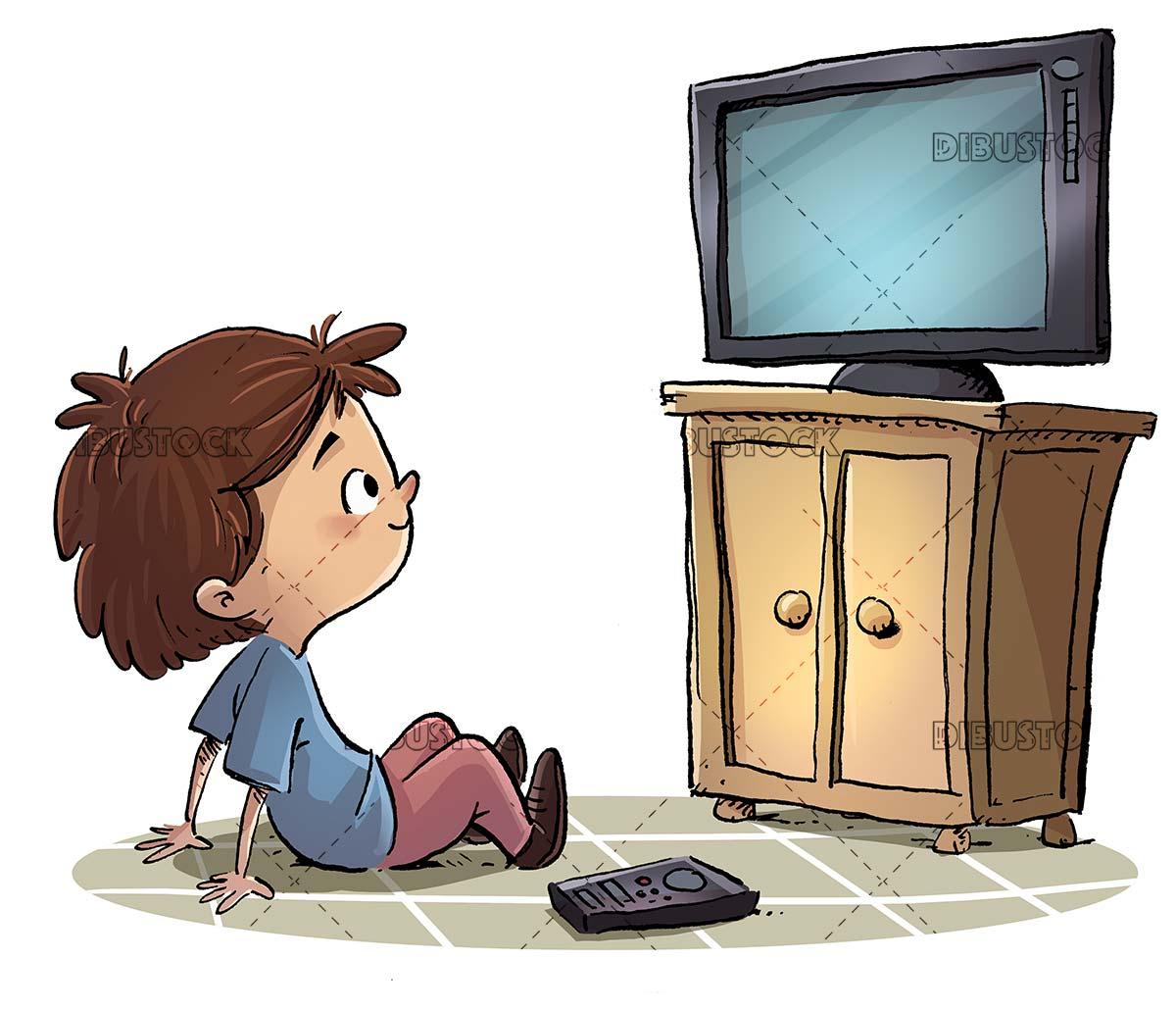 boy sitting watching television