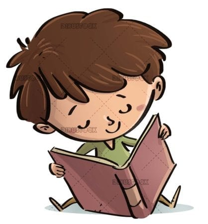 boy sitting with open book on isolated background