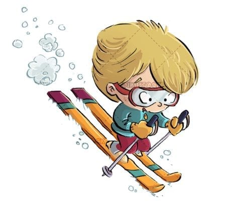 boy skiing through the snow at full speed