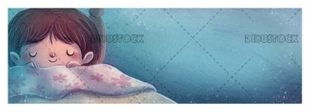 boy sleeping and dreaming happy on blue background