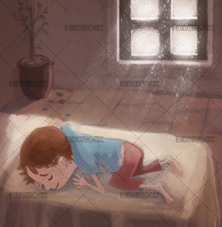 boy sleeping next to the window