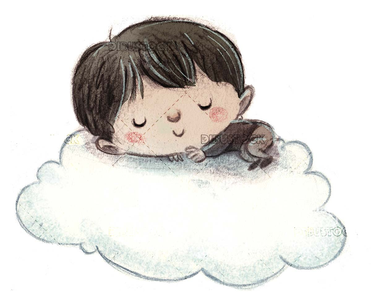 boy sleeping on a cloud floating on isolated background