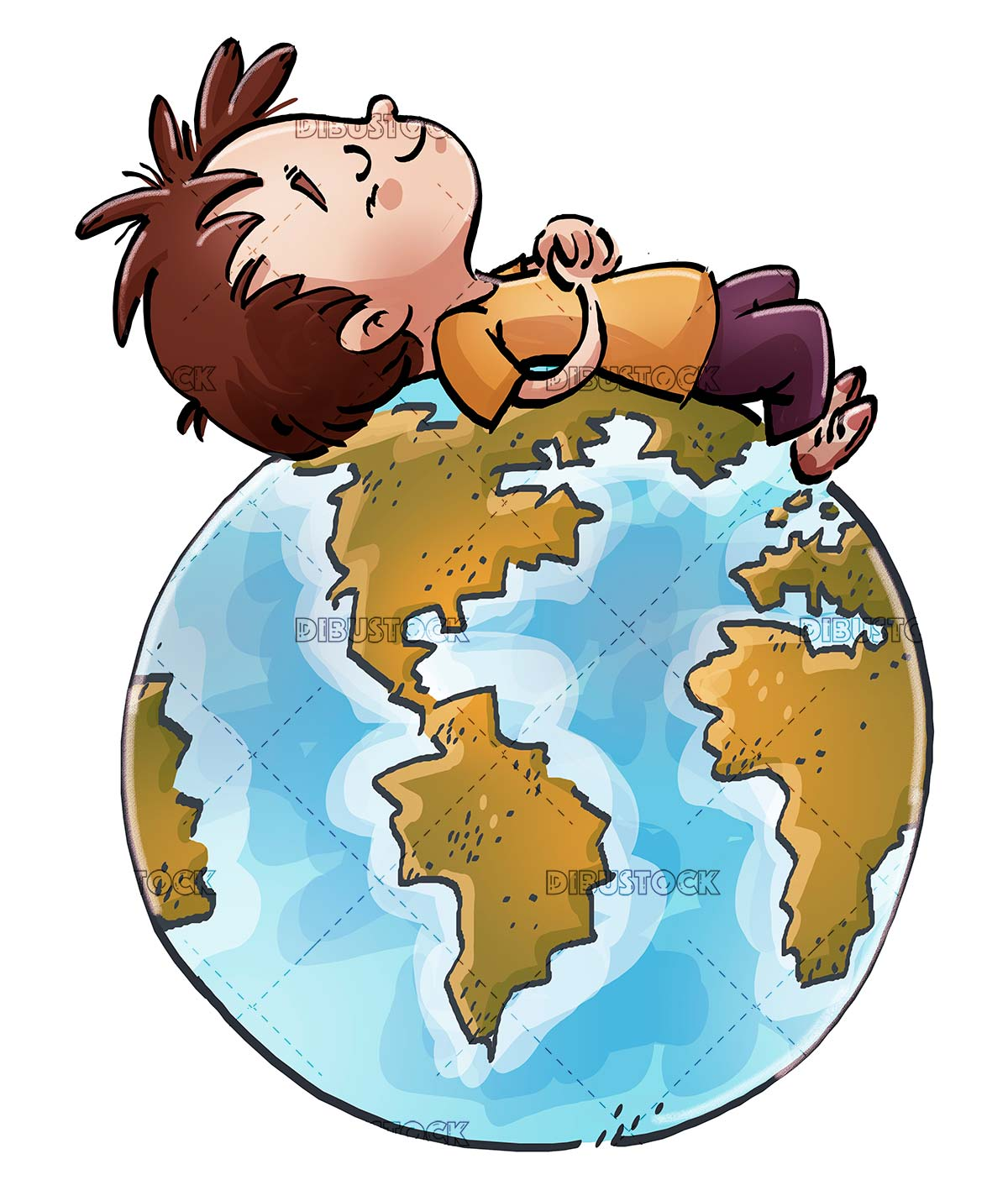 boy sleeping on planet earth with isolated background