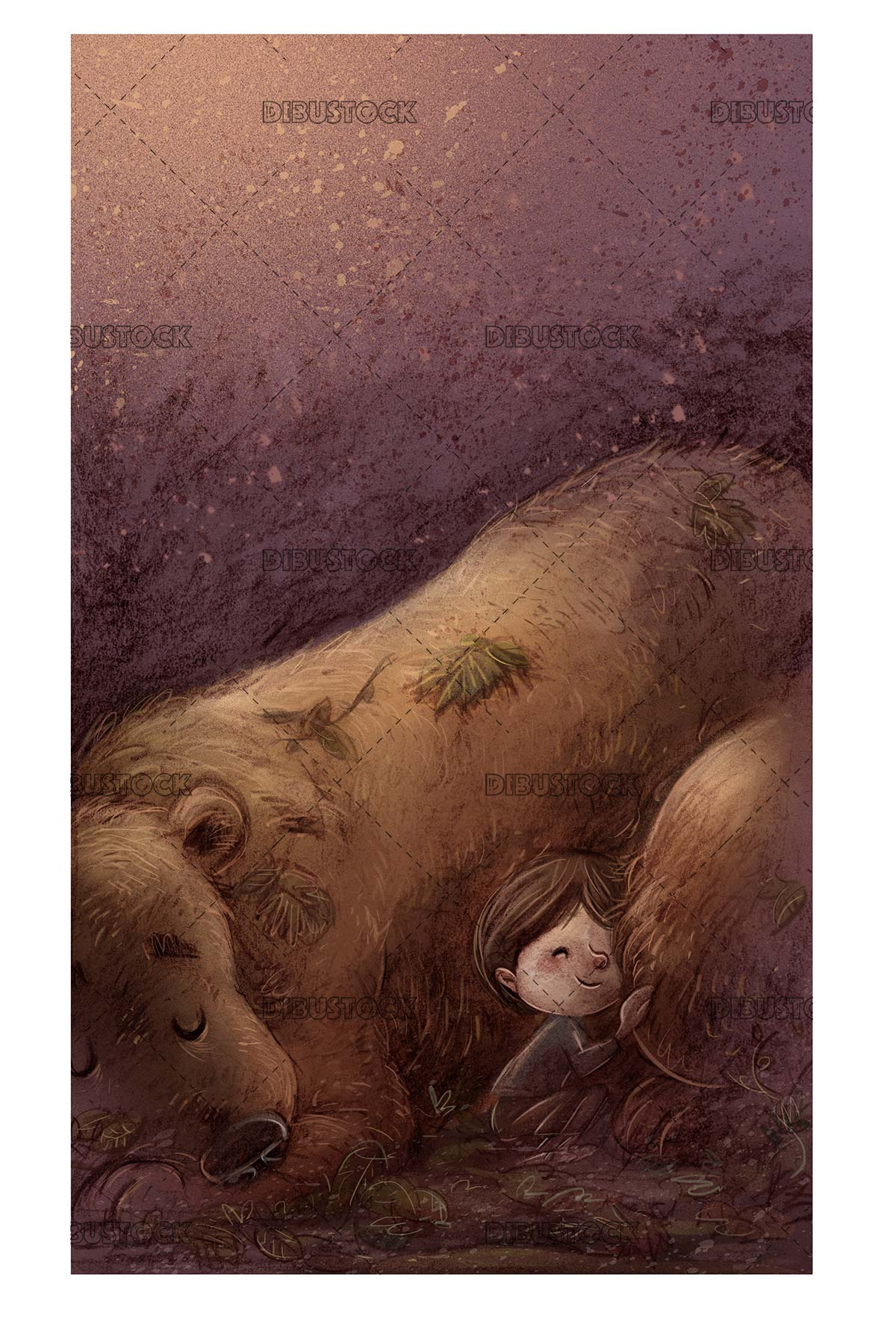 boy sleeping with bear with texture background