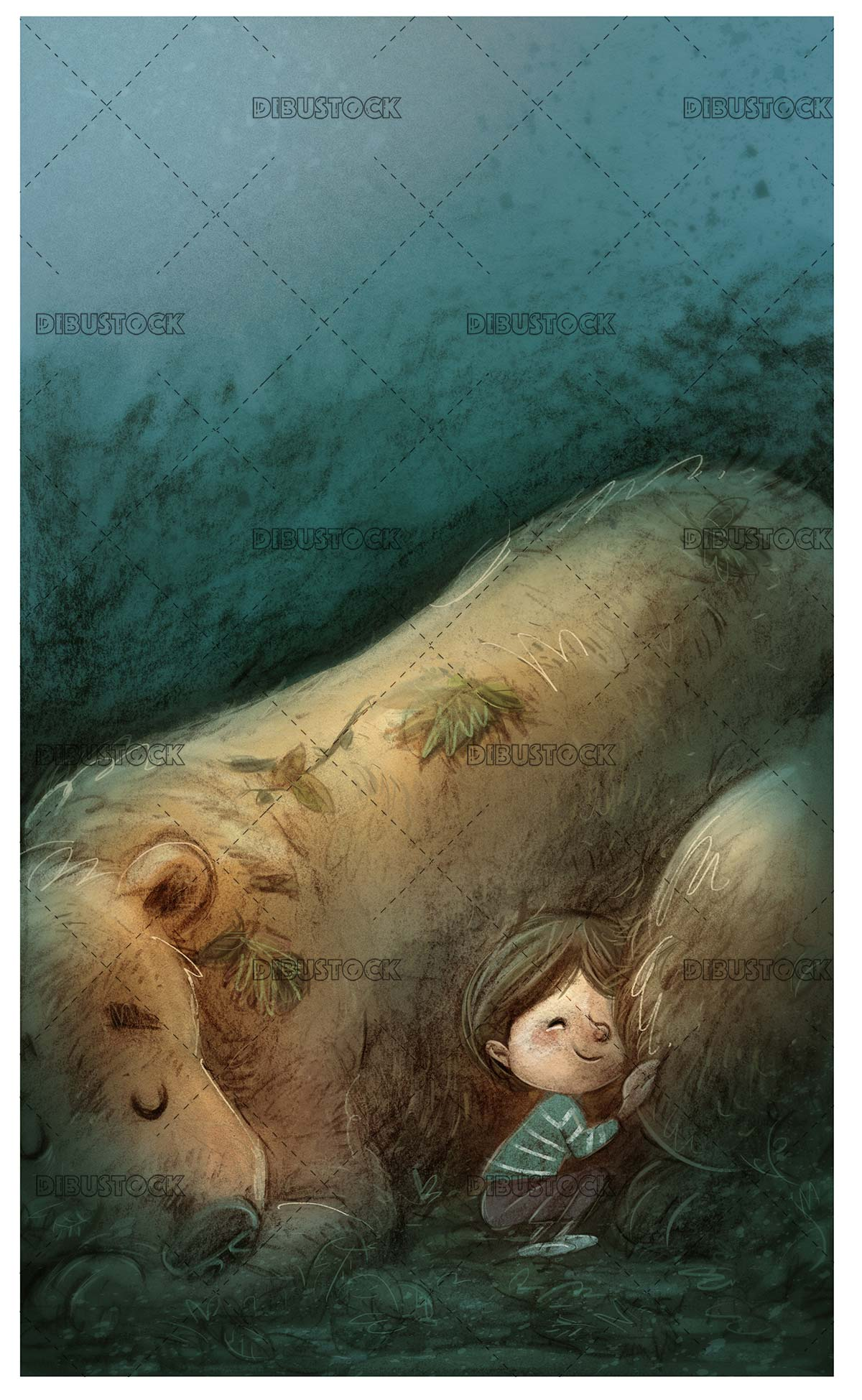 boy sleeping with giant bear in a cave
