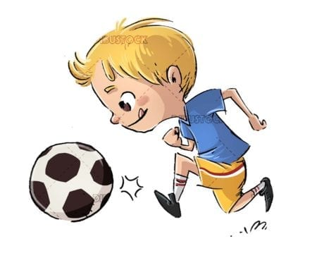 boy soccer player running with the ball on isolated background