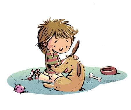 boy stroking his dog