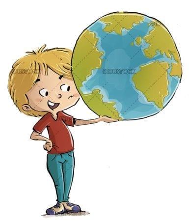 boy teaching the planet earth