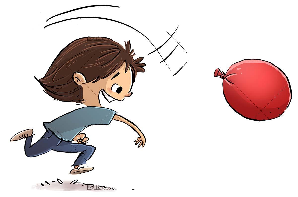 boy throwing a water balloon