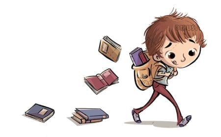 boy walking fast with books falling out of backpack