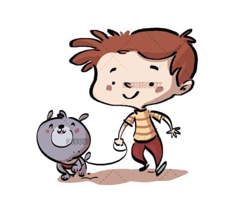 boy walking his gray dog on isolated background