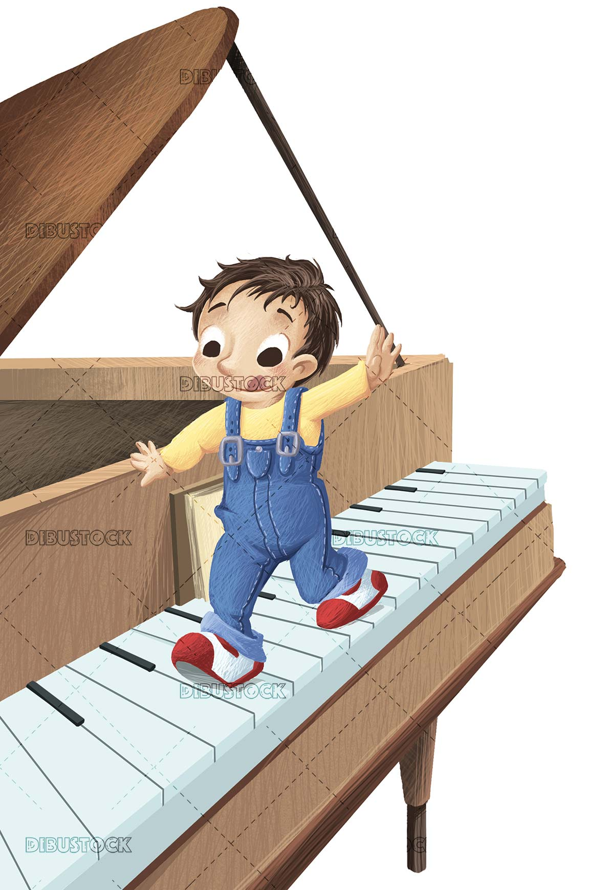 boy walking on top of piano