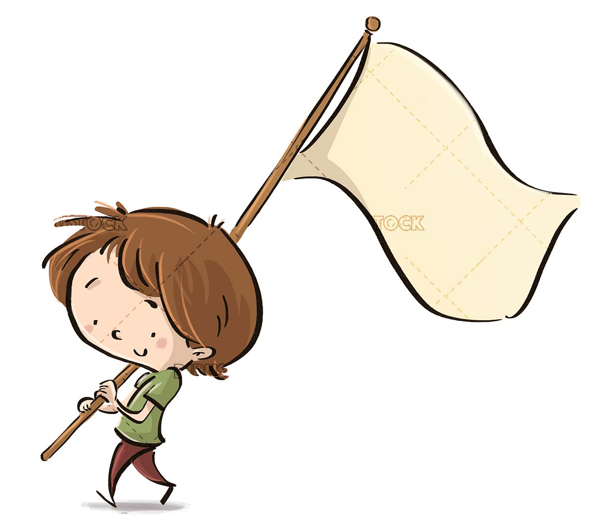 boy walking with a mast and a white flag