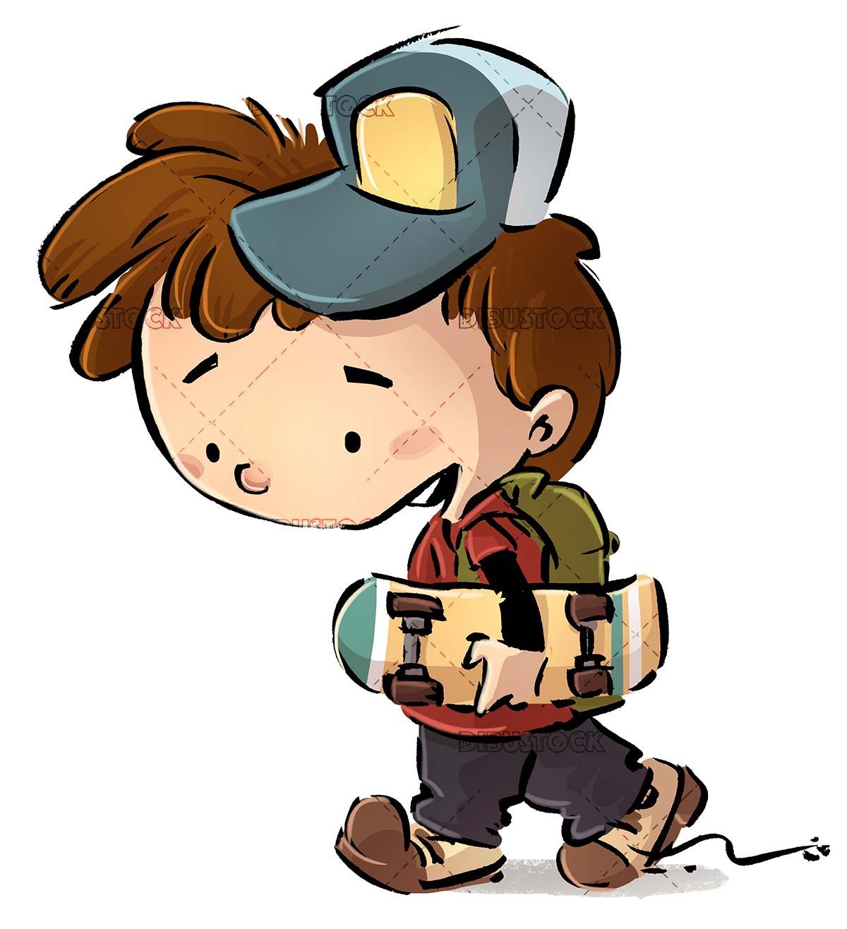 boy walking with skateboard in hands