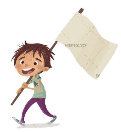 boy walking with white flag