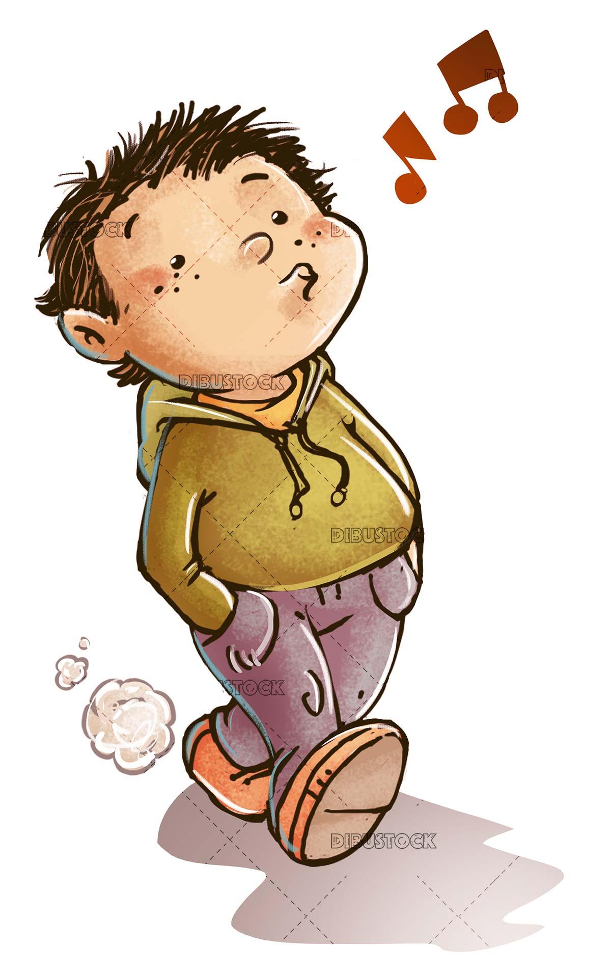 boy whistling while walking
