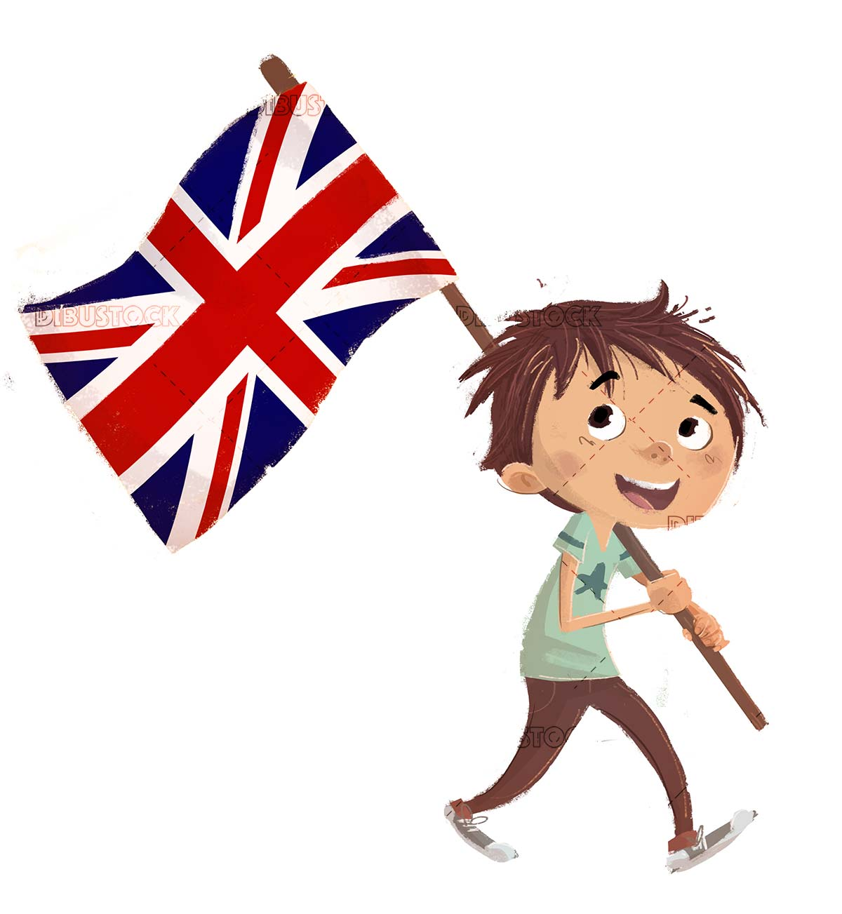 boy with Great Britain flag with isolated background