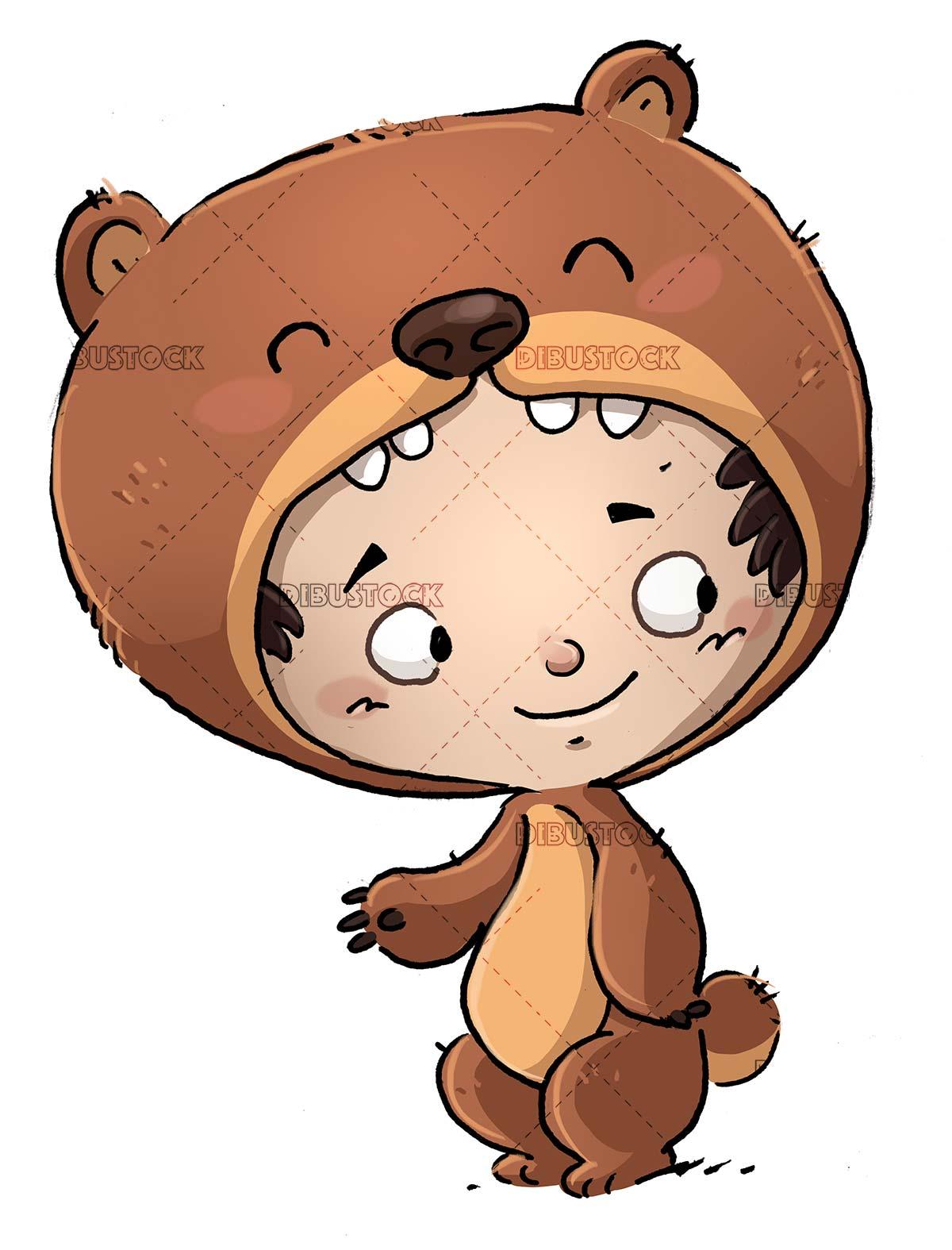 boy with bear costume
