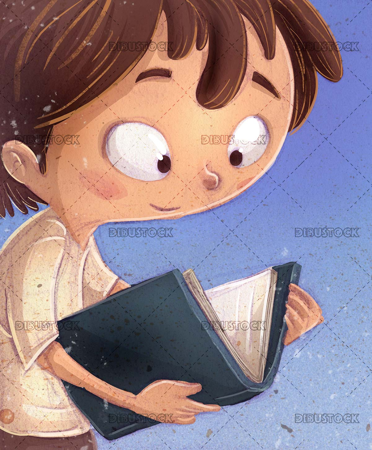 boy with book in hands and blue textured background