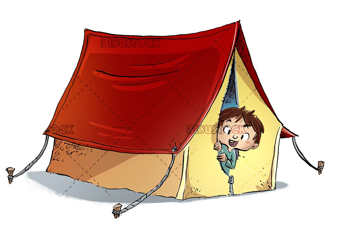 boy with camping tent on isolated background