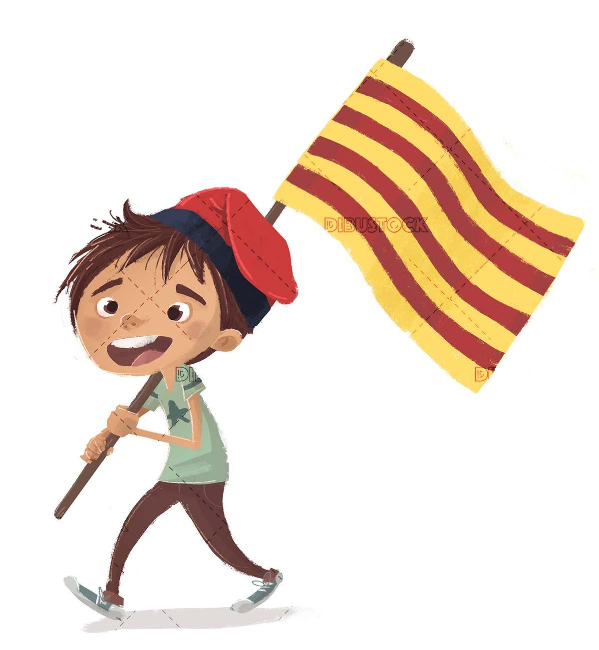 boy with catalan flag