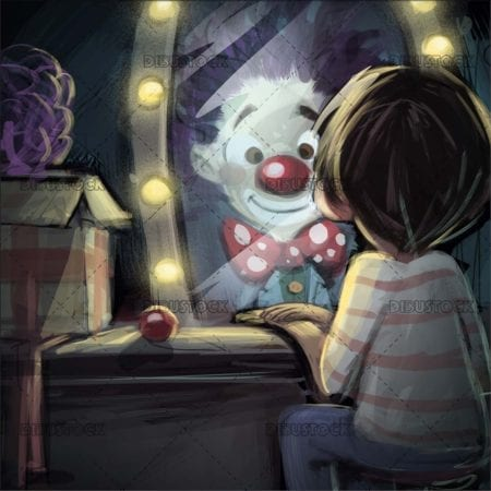 boy with clown in the mirror reflection