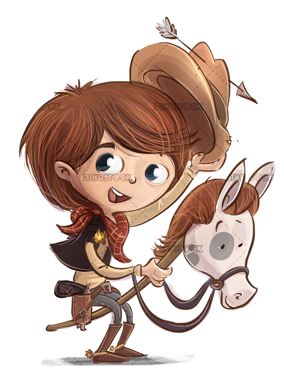 boy with cowboy costume and toy horse