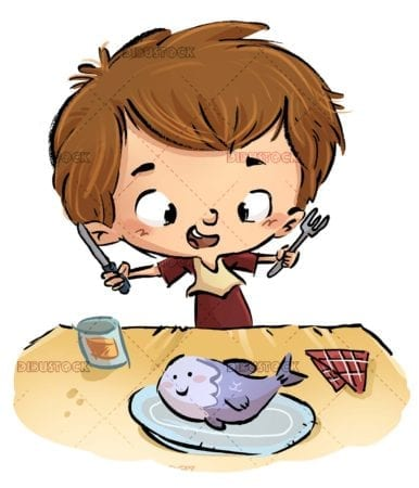 boy with cutlery and plate with fish