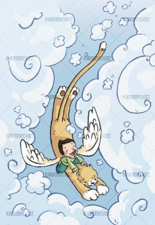 boy with feline with wings flying through the sky