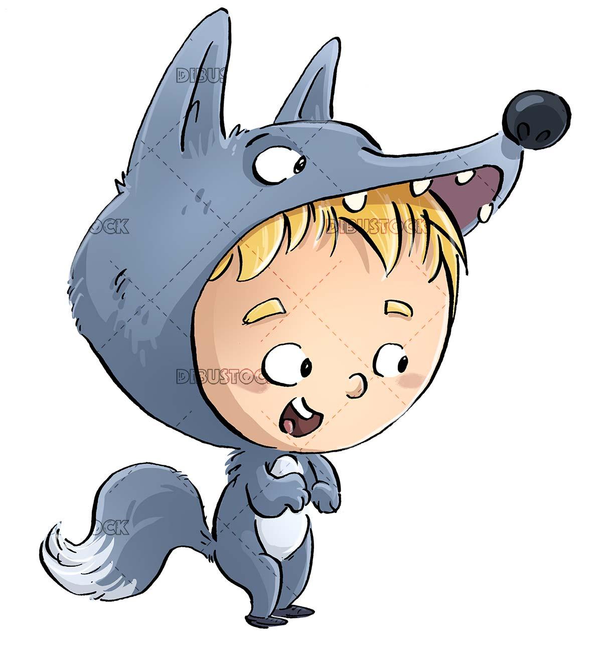 boy with fierce wolf costume