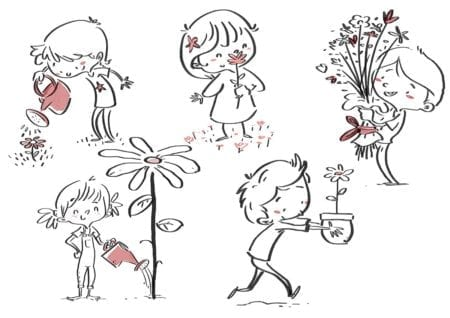 boy with flowers in different poses.line drawing