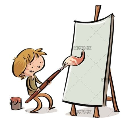 boy with giant brush painting a blank picture