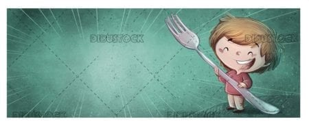 boy with giant fork on green textured background