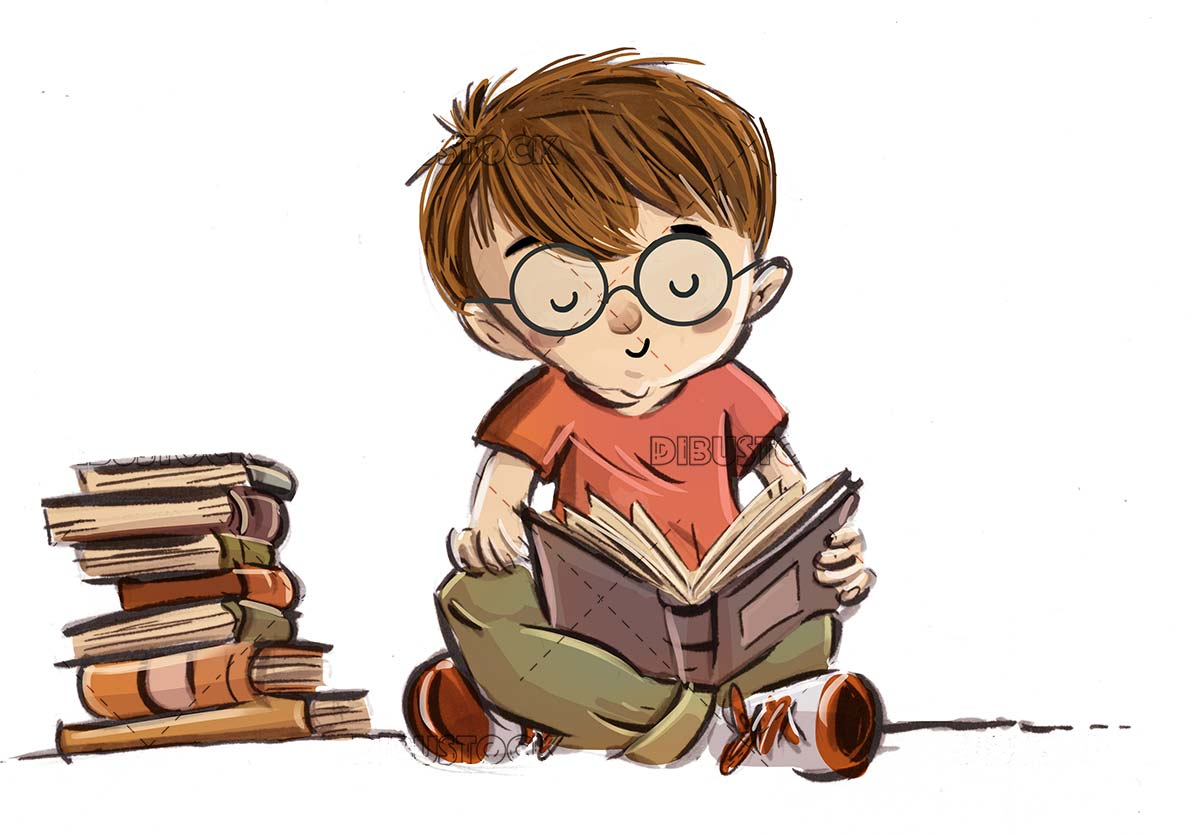 boy with glasses reading concentrate and books around