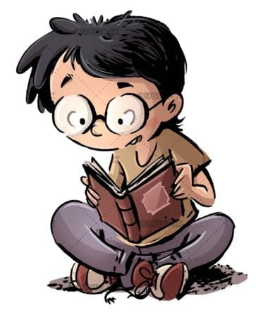 boy with glasses sitting reading a book on isolated background