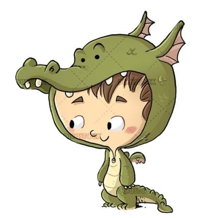 boy with green dragon costume with isolated background
