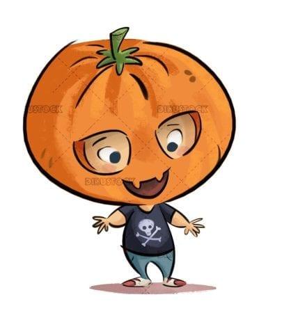 boy with halloween pumpkin costume