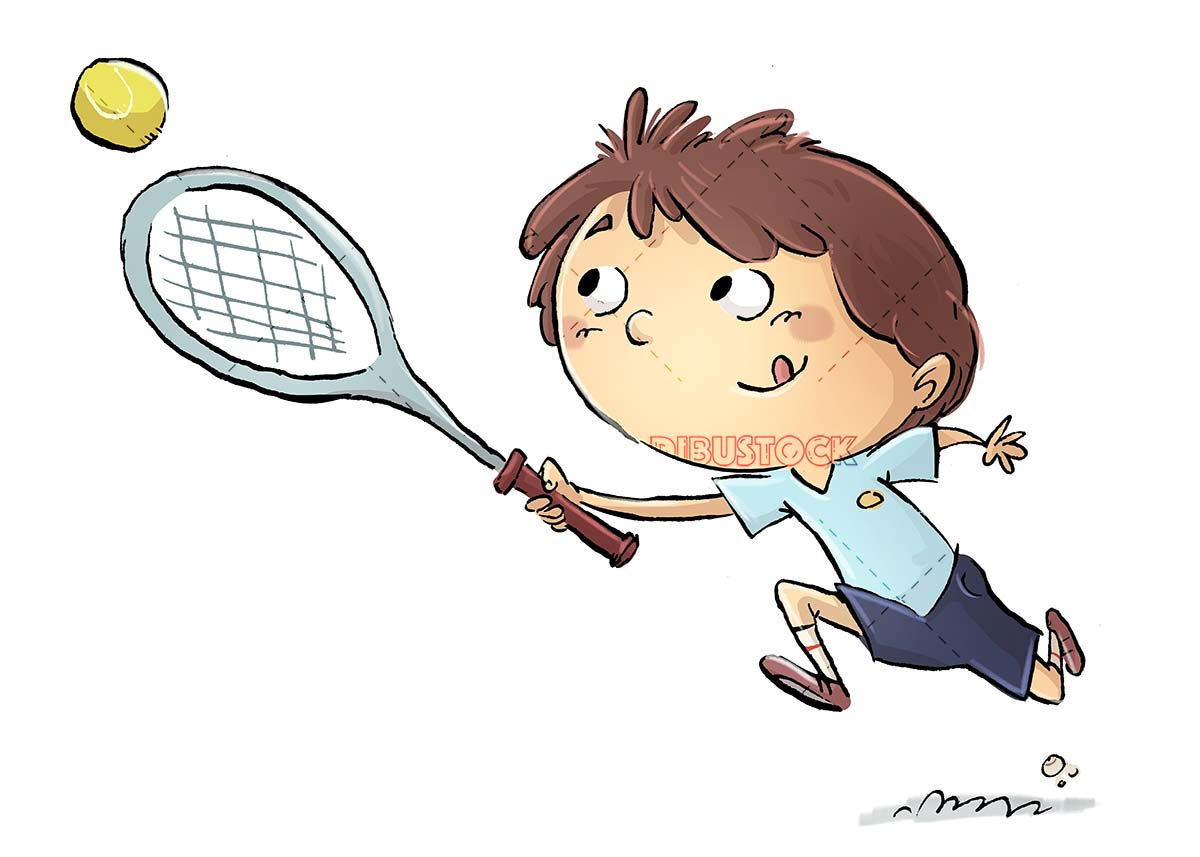 boy with his racket and ball playing tennis