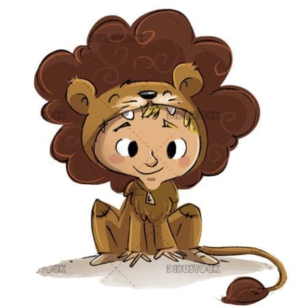 boy with lion costume