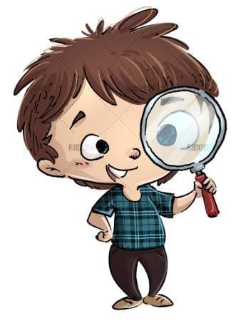 boy with magnifying glass on his face with isolated background