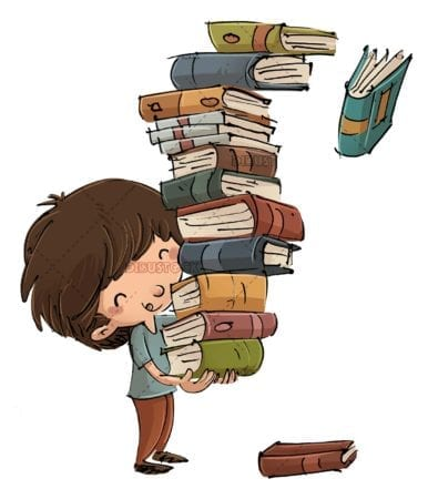 boy with many books and some falling