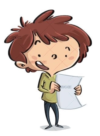 boy with paper in hand talking standing