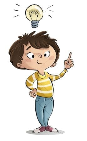 boy with raised finger having an idea