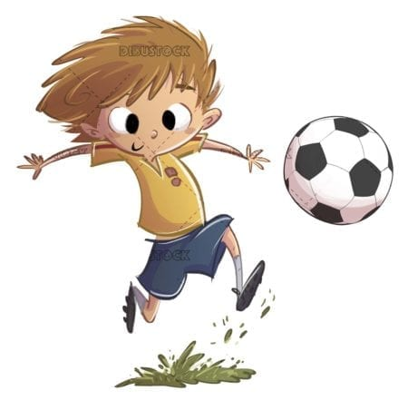 boy with soccer kit playing with ball