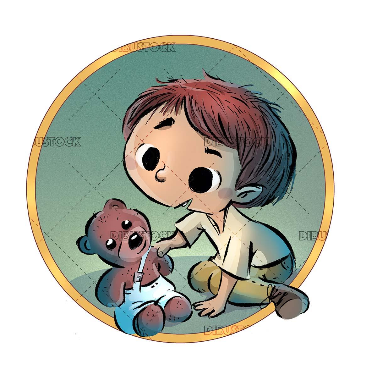 boy with teddy bear in a circle